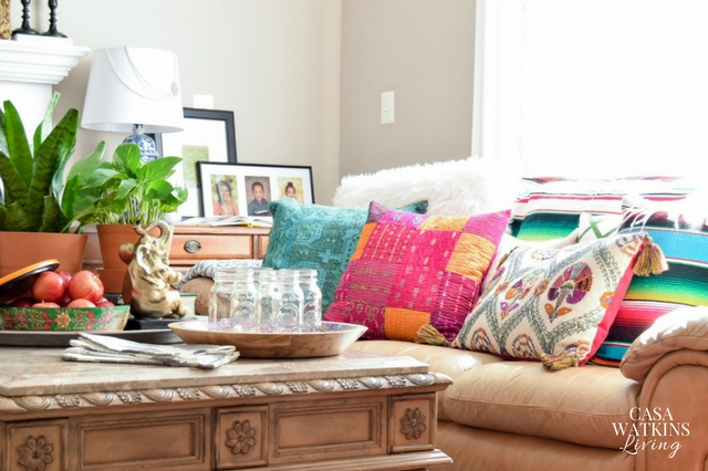 Love these colorful pillows for pops of color in the fall