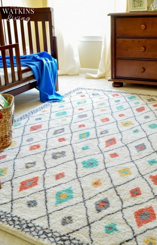 Add pops of color using Global diamonds rug in boy's room