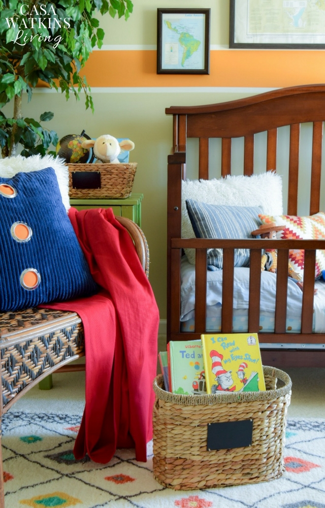 Colorful travel themed boys bedroom transformation
