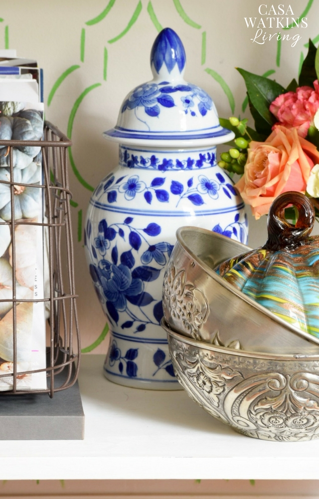 use chinoiserie ginger jars for fall decor