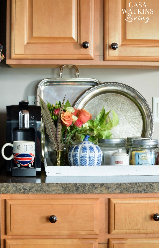 decorating with silver trays and florals for fall coffee bar
