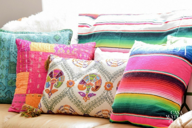 Use mexican blankets as couch covers