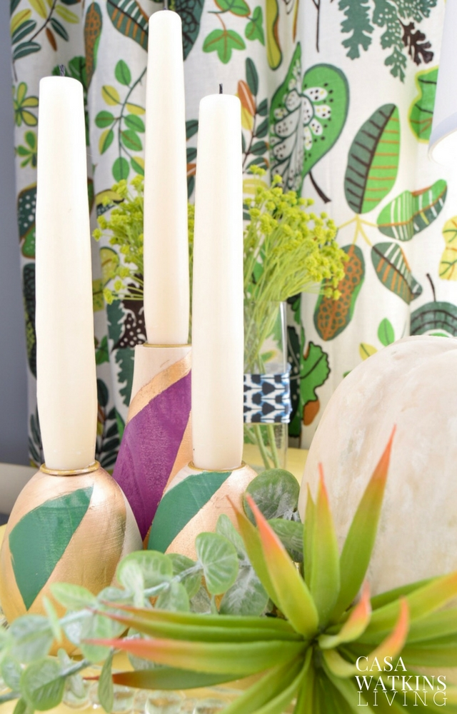 DIY color block candleholders