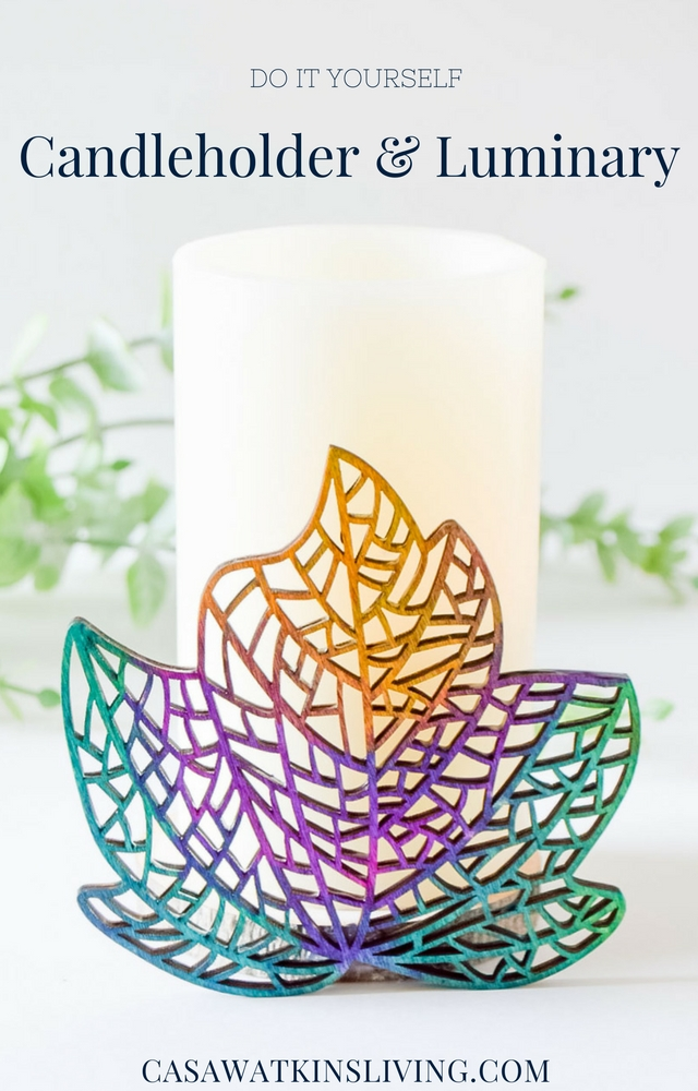 DIY colorful candle holder with a wood slice!