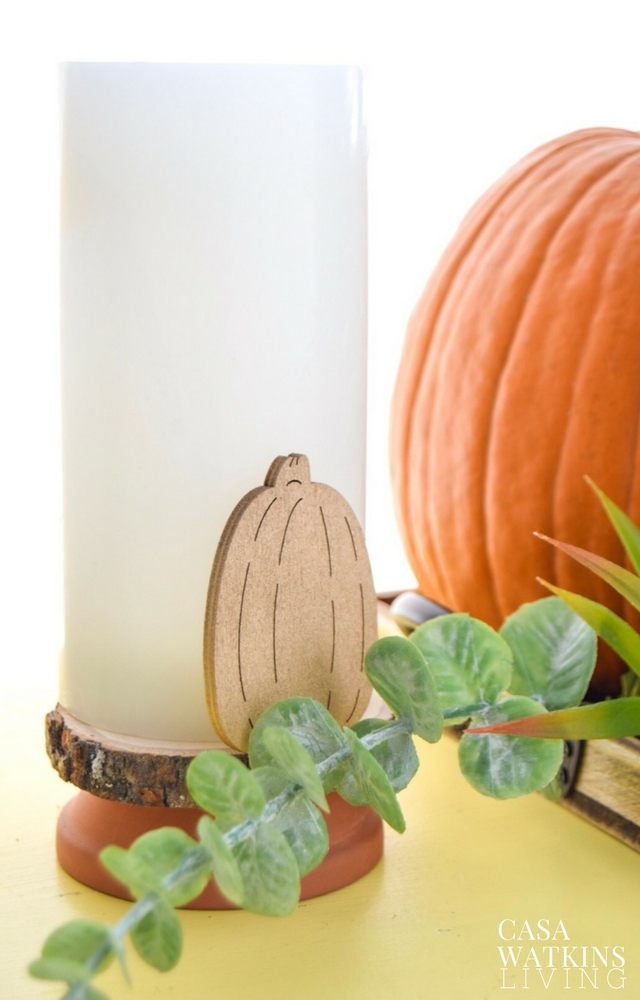 DIY rustic wood slice candle holder