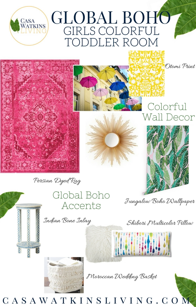 Pink dyed persian rugs, jungalow wallpaper, and other colorful accents for a room makeover