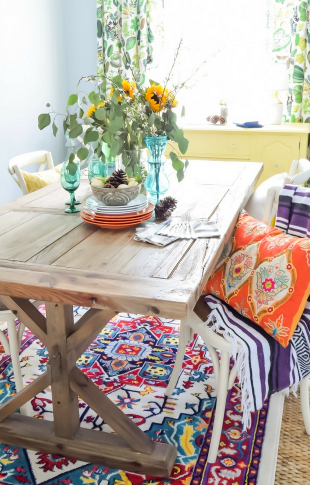 colorful global boho dining room fall tour