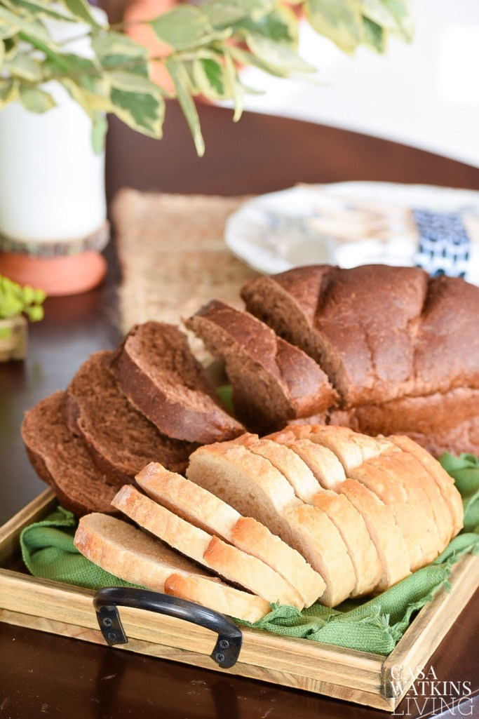 Use rustic tray as a bread platter
