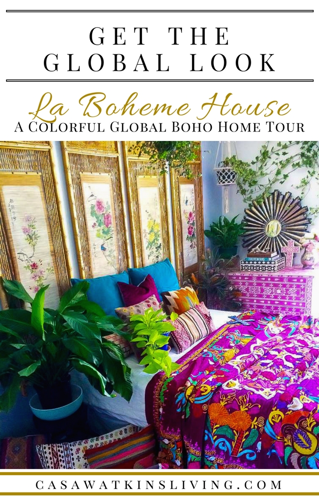 Colorful global boho home tour of La Boheme House
