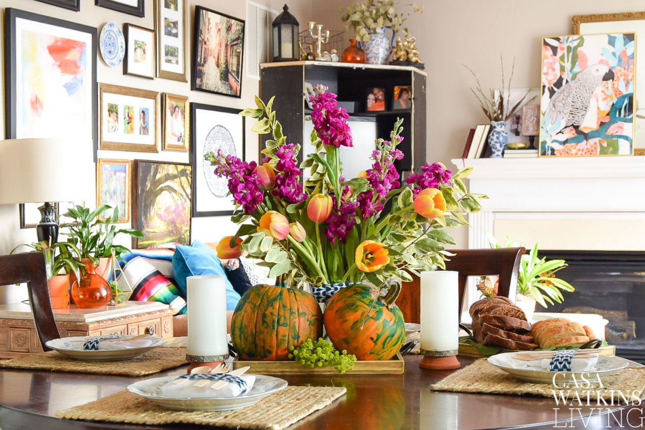 How to make kid's painted pumpkins into pretty centerpiece