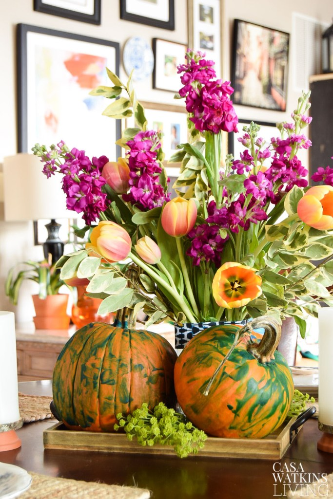Use the painted pumpkins kid's make to create a pretty Thanksgiving centerpiece