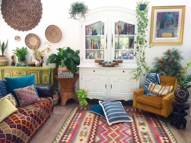 Boho living room with global style from La Boheme House