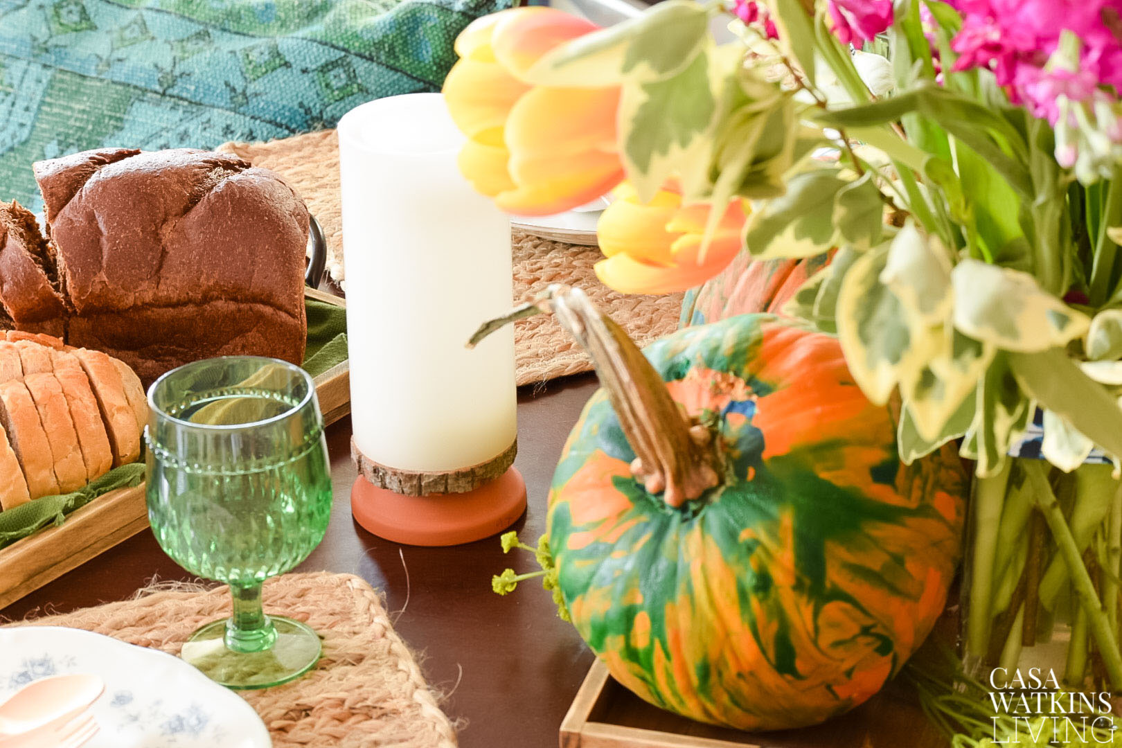 DIY painted pumpkins centerpiece for kids' table