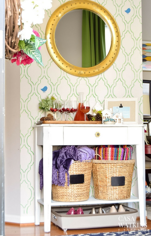 Colorful holiday entryway with entertaining hacks
