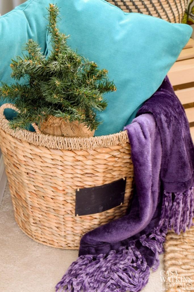 basket with mini christmas tree