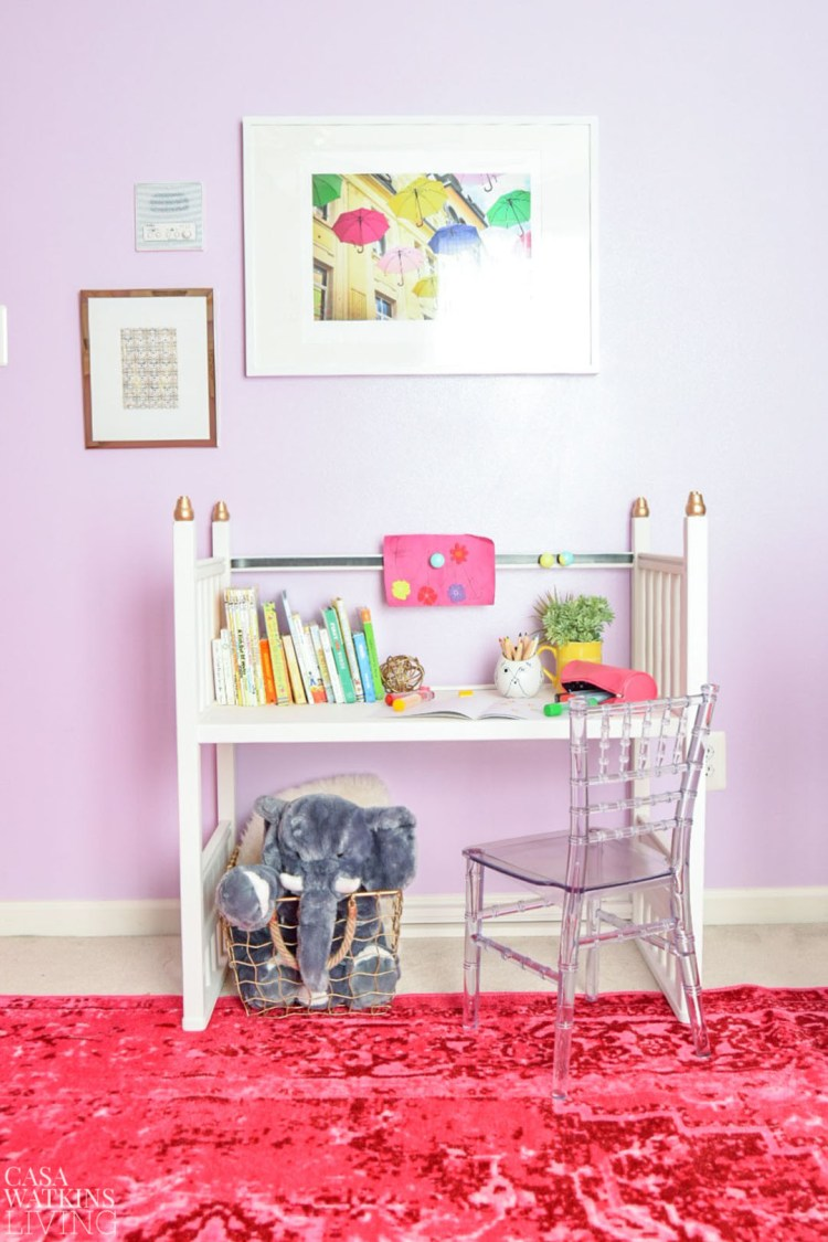 upcycled changing table into kid's desk in boho kid's room