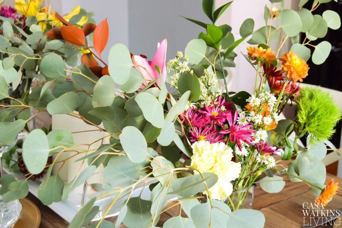 using eucalyptus for winter tablescape