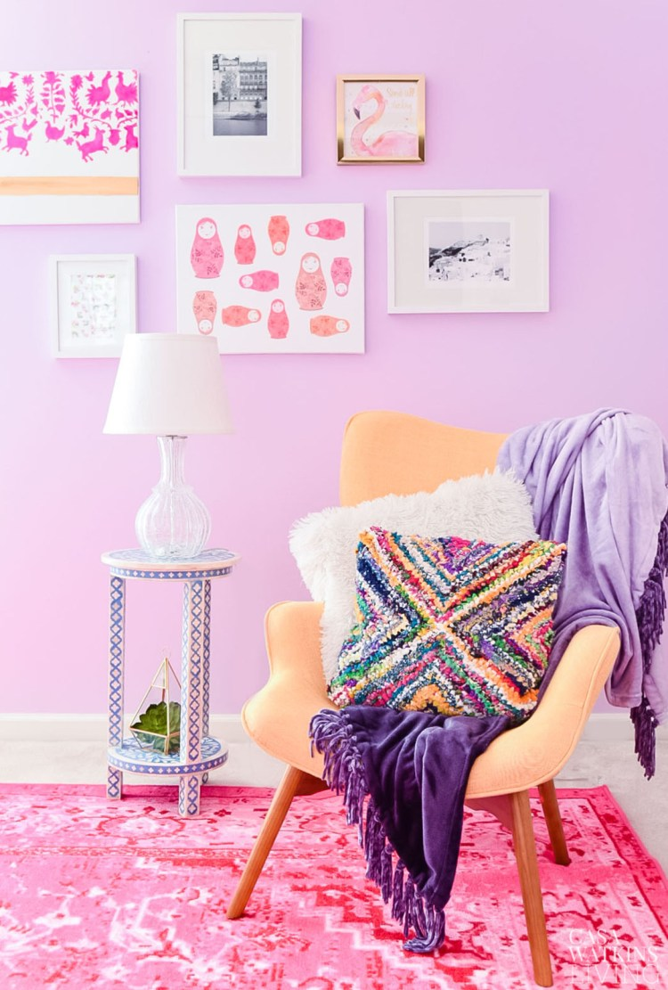gallery wall idea for girls room with midcentury modern chair