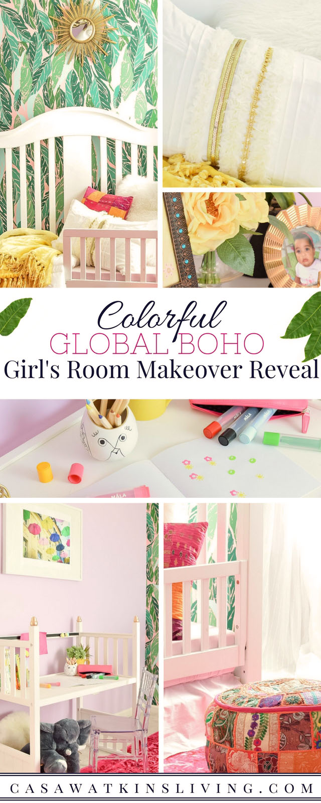 Global boho style girls room makeover with colorful accents and jungalow style wallpaper