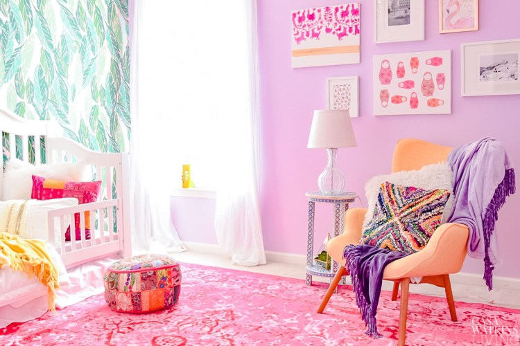 global boho girl's room makeover with jungalow style wallpaper