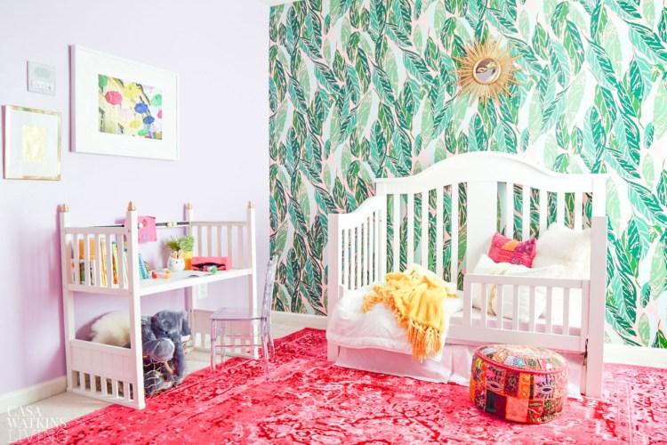 colorful boho style girls room