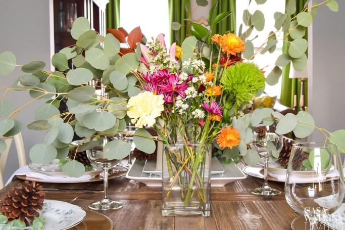 colorful eucalyptus centerpiece for winter