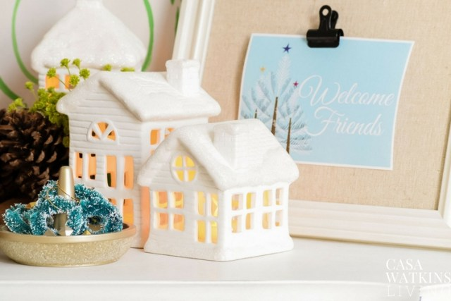Holiday house luminaries for holiday decor