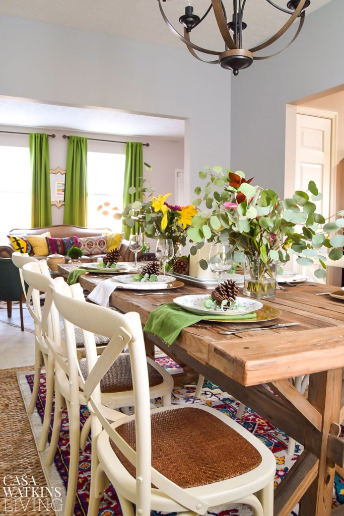 farmhouse table with colorful winter table decor