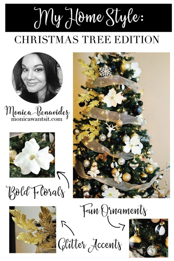 Black white and gold glam Christmas tree by Monica Wants It
