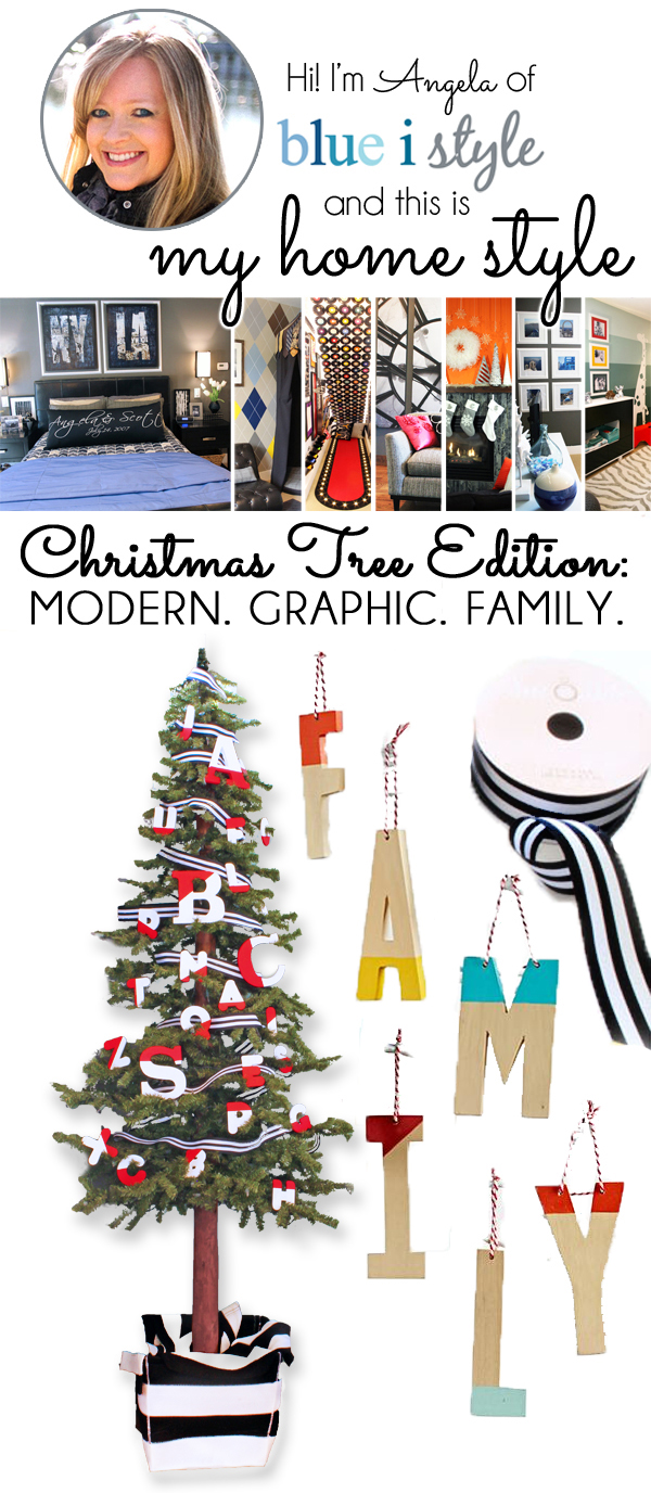 modern graphic family themed Christmas tree via BlueiStyle