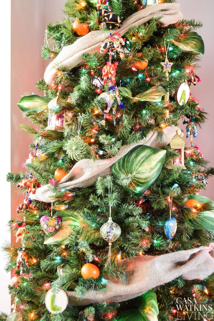 Global eclectic Christmas tree styling