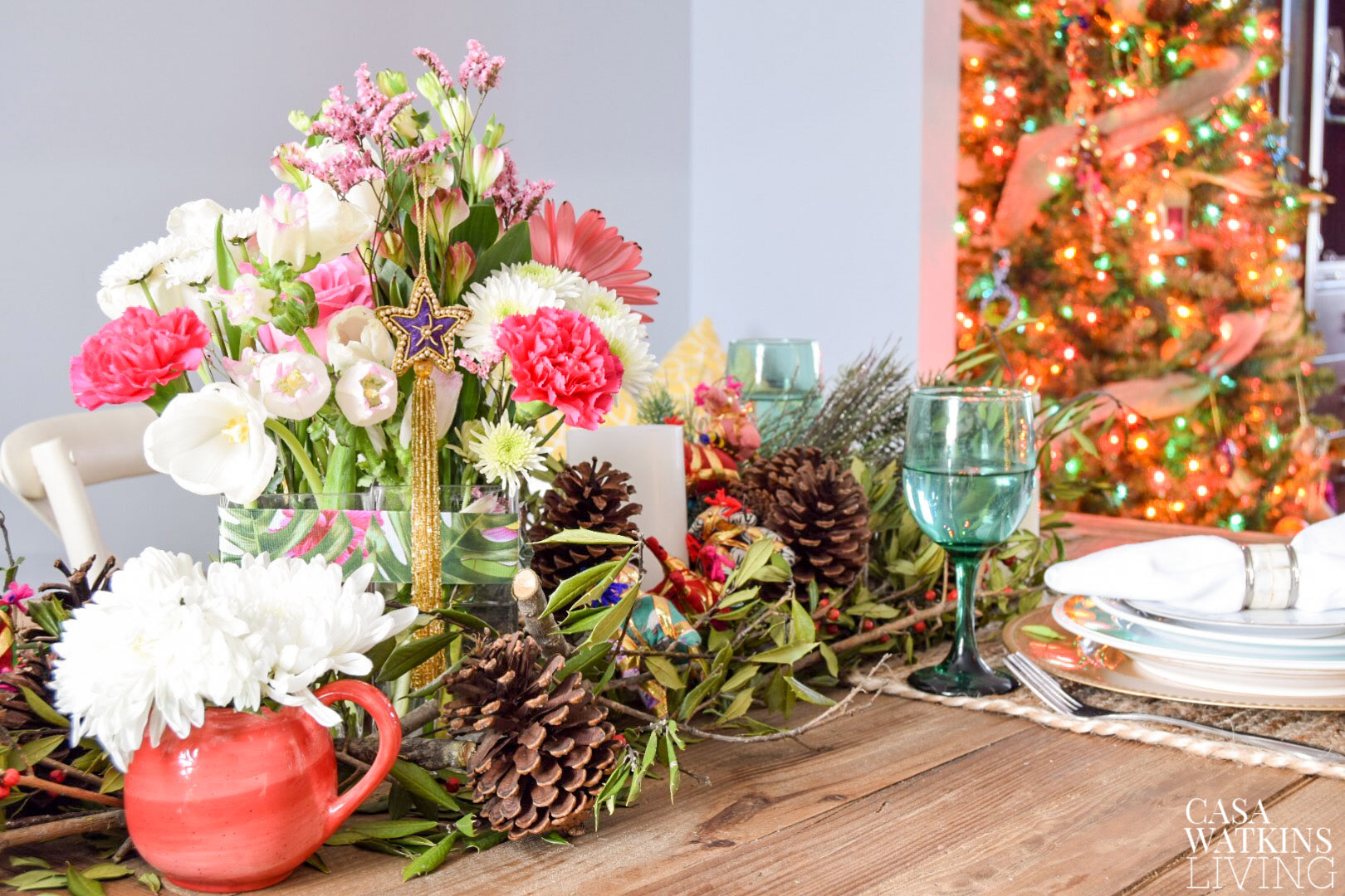 Colorful global style holiday centerpiece with ornament