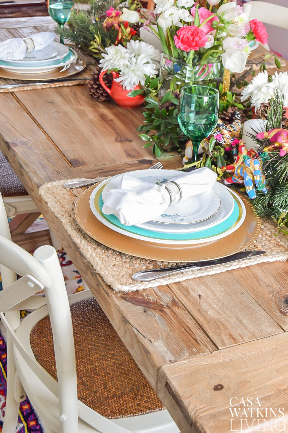 Colorful holiday table decor with global vibes on farmhouse table
