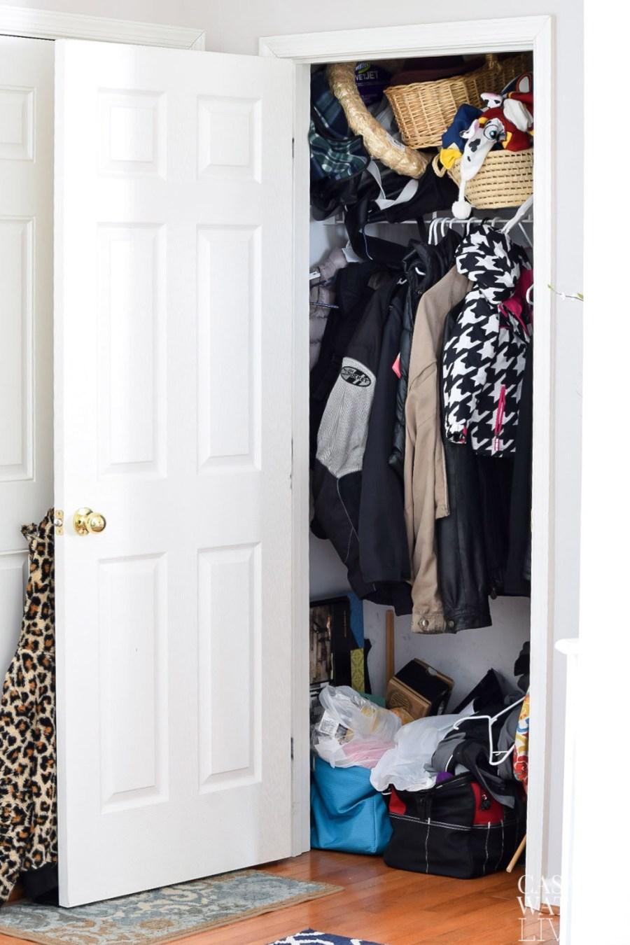 coat closet clutter makeover