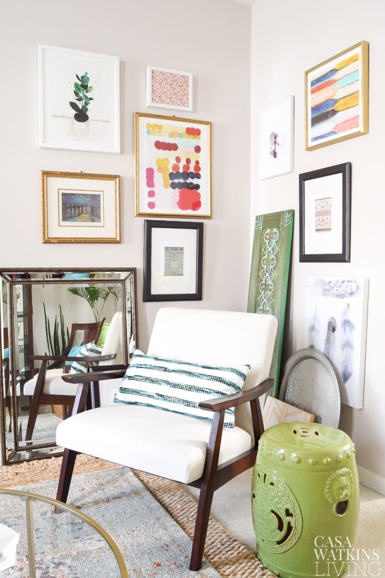 use colorful art prints and DIY moroccan wood art to make an eclectic style gallery wall