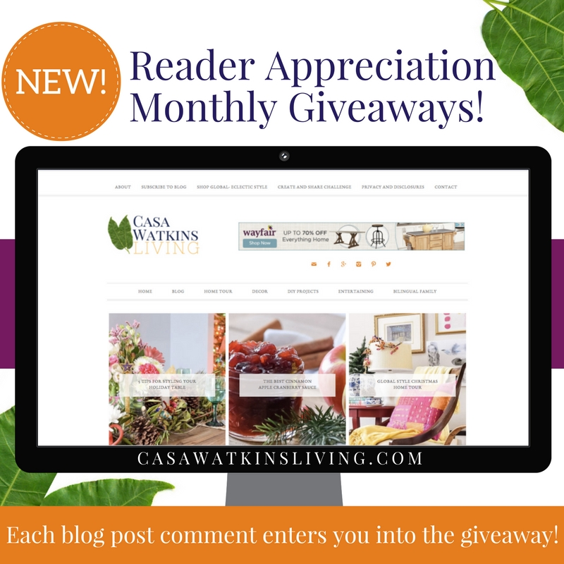 Casa Watkins Living gives away monthly giveaway for reader appreciation