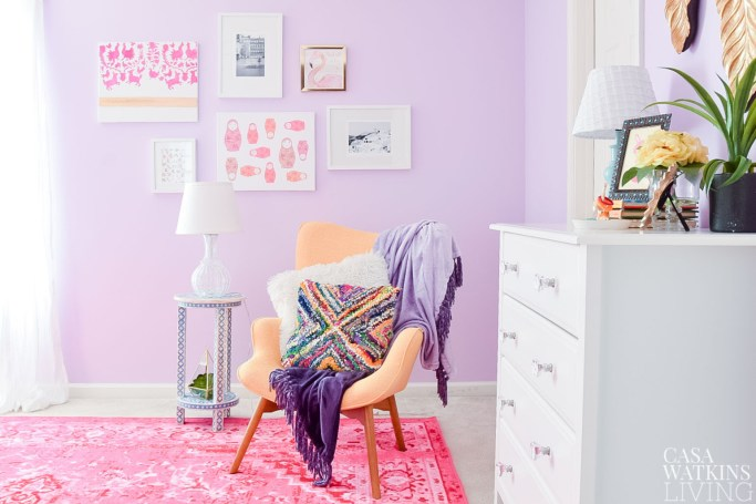 girls room boho theme gallery wall! Love the otomi and nesting doll art