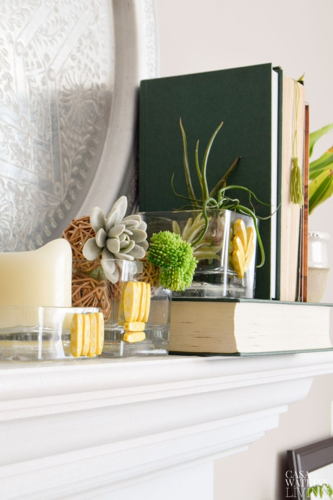 DIY global style vase with Indian bone beads.  Use as Air plant holder and candle holder