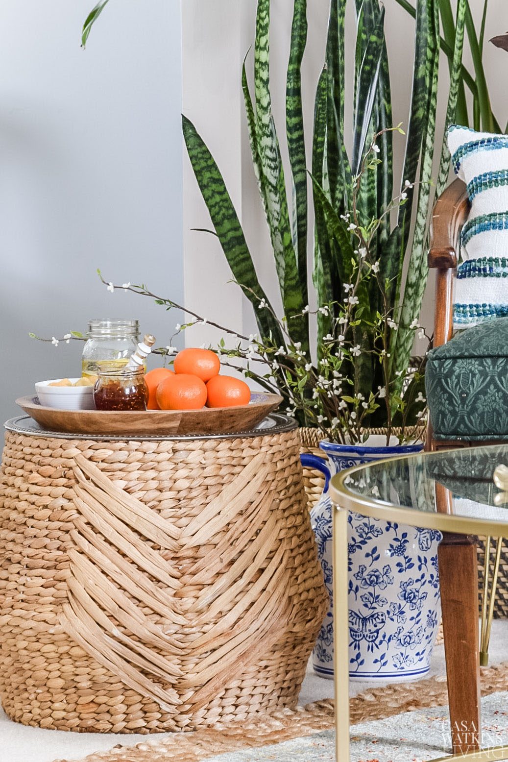 basket into side table with tray