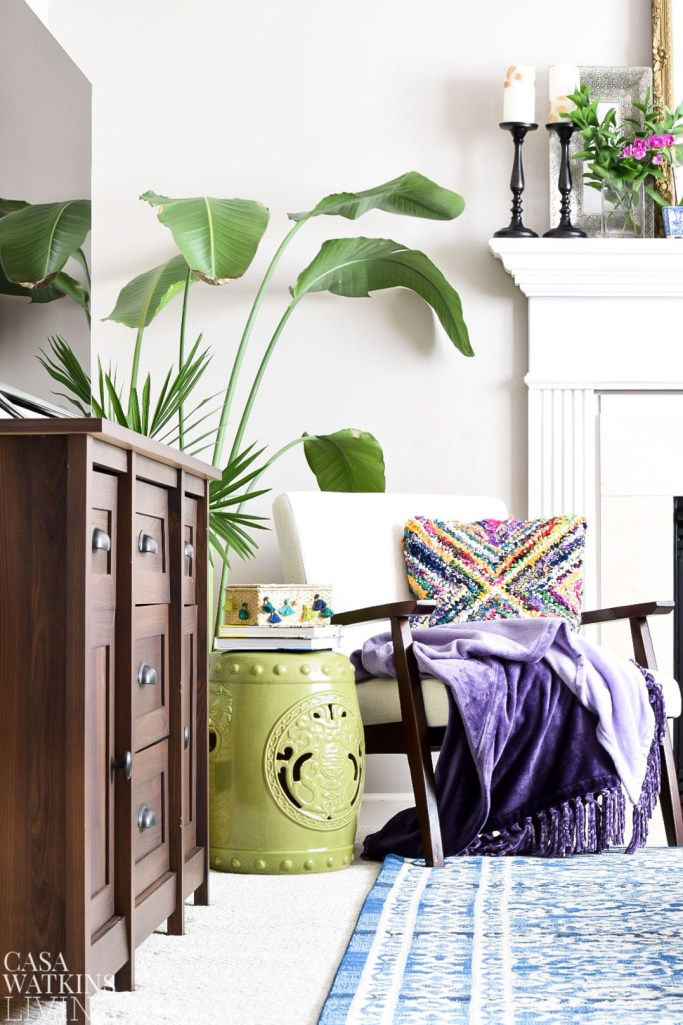 global style family room with moroccan inspired tassel box and jungalow style plants