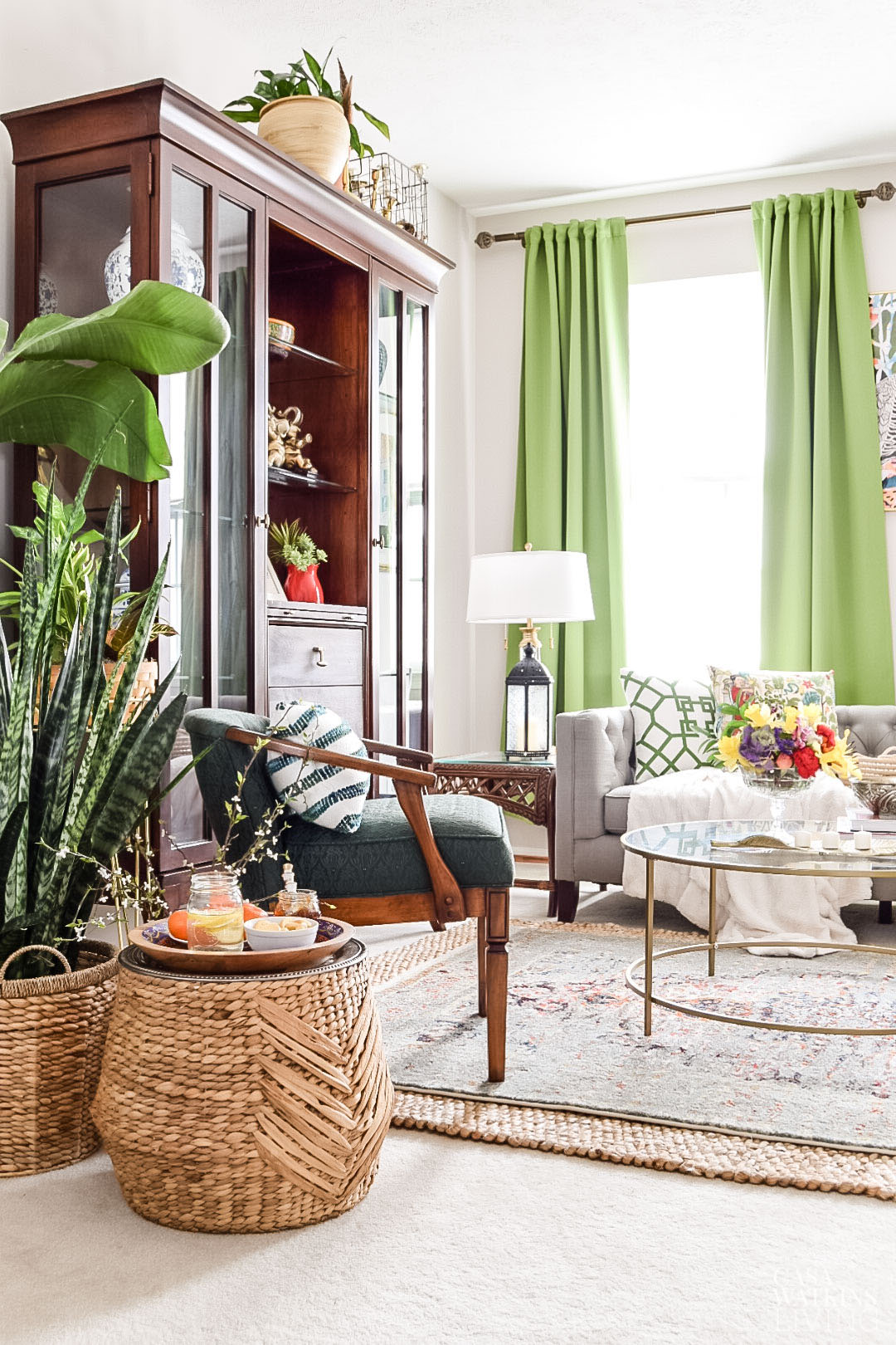living room with global style and botanicals