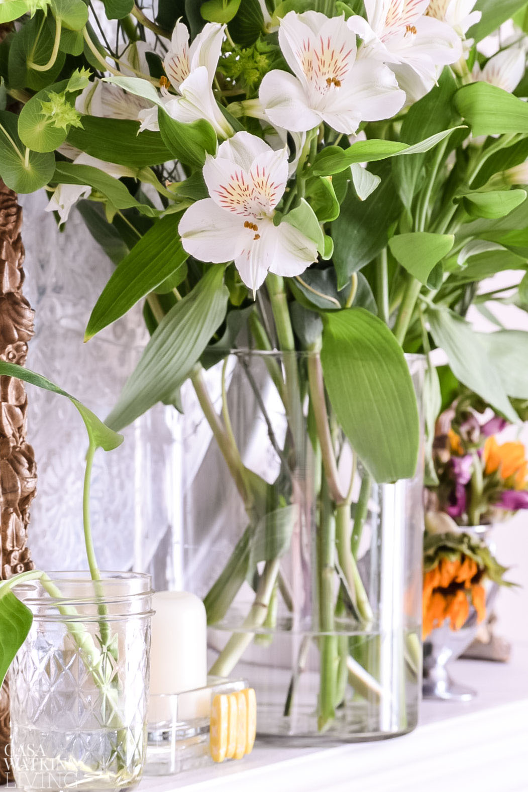 using flowers for spring mantel and hygge style