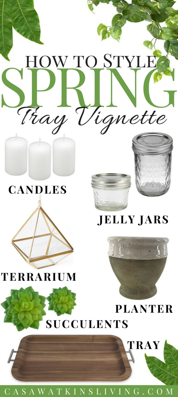items to style a foliage and candle spring tray vignette