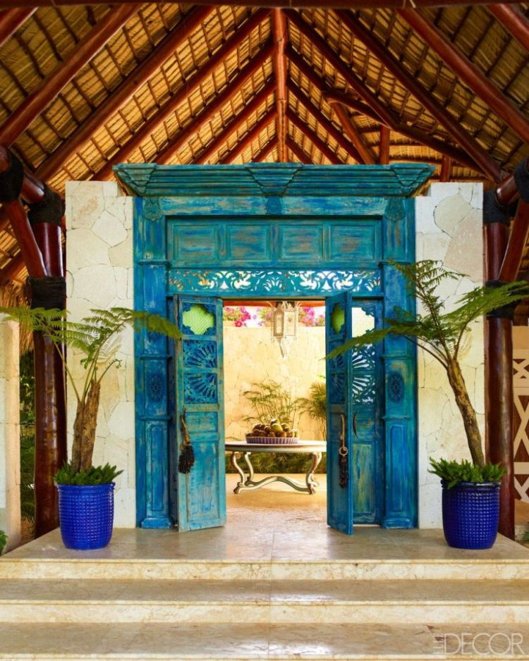 teal door frame from Caribbean style home