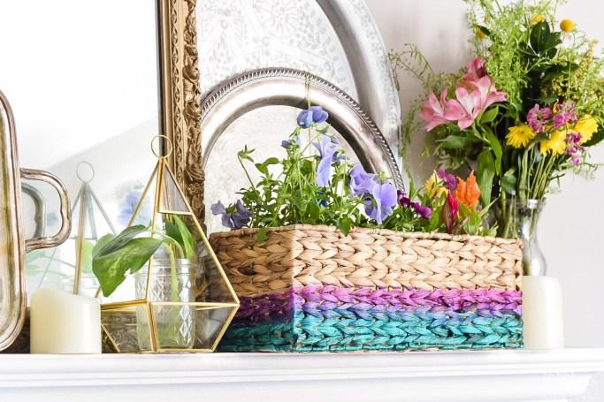 diy painted flower basket gift idea