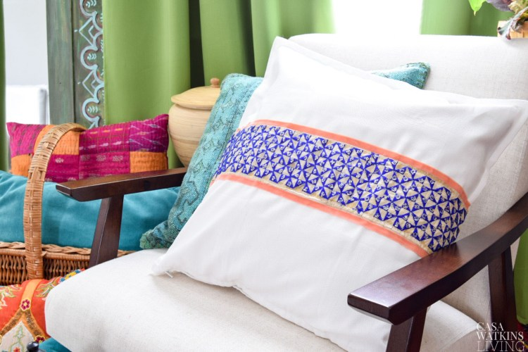 diy global style pillow without sewing