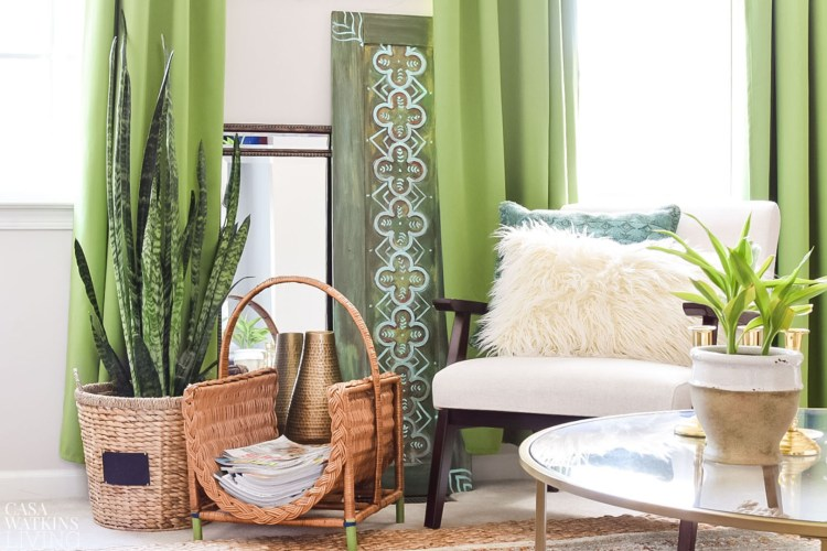 global boho living room with rattan and hyacinth baskets