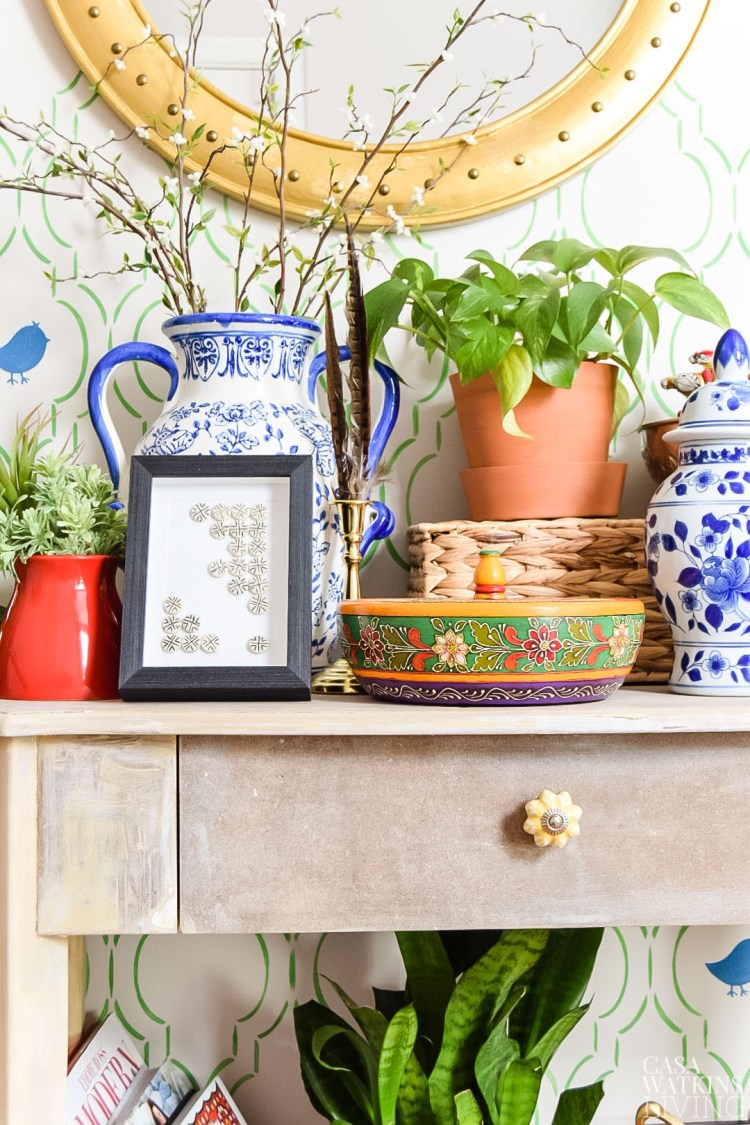 global style entryway with maximalist styling
