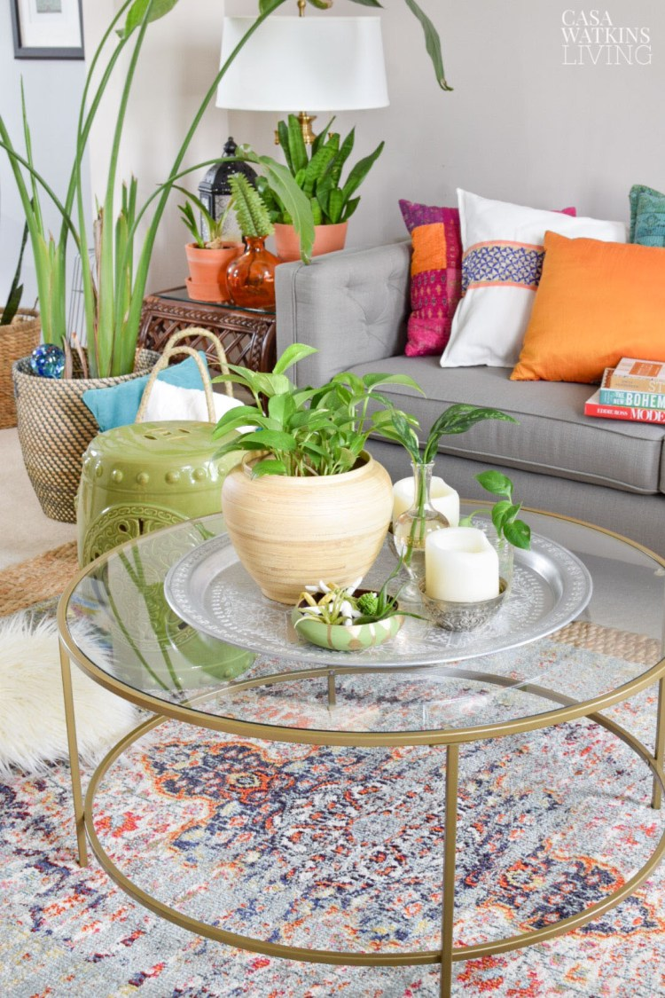 global style living room decorated with plants for the summer