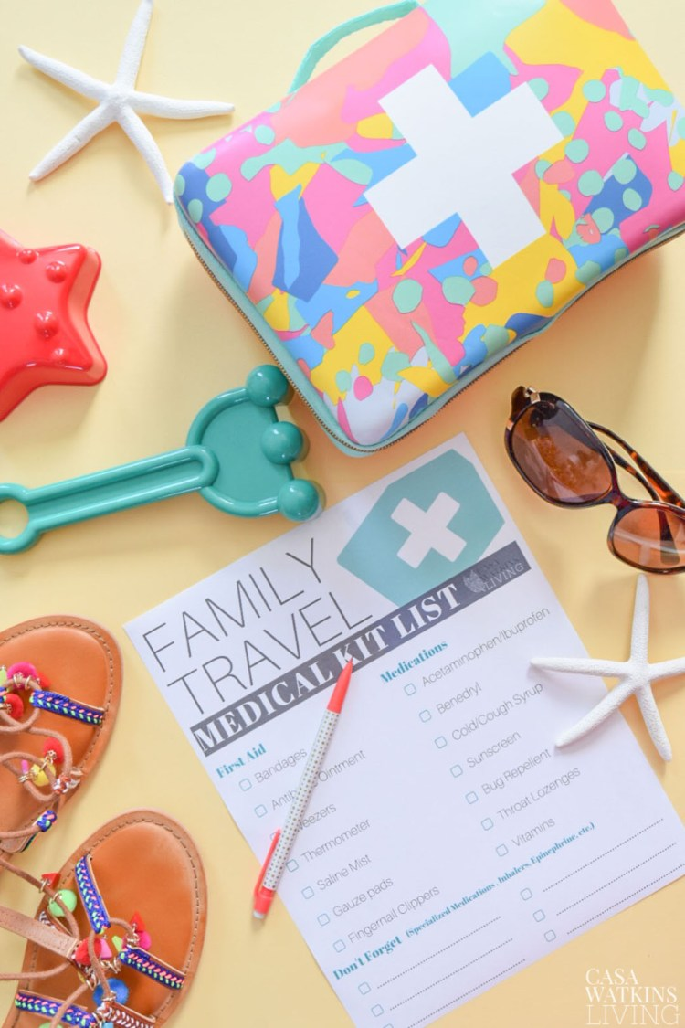 what to pack in a family travel medical kit with FREE checklist
